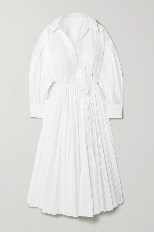 Valentino Pleated cotton-blend poplin shirt dress