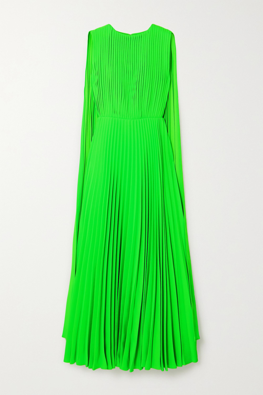 Valentino Cape-effect neon plissé-crepe gown