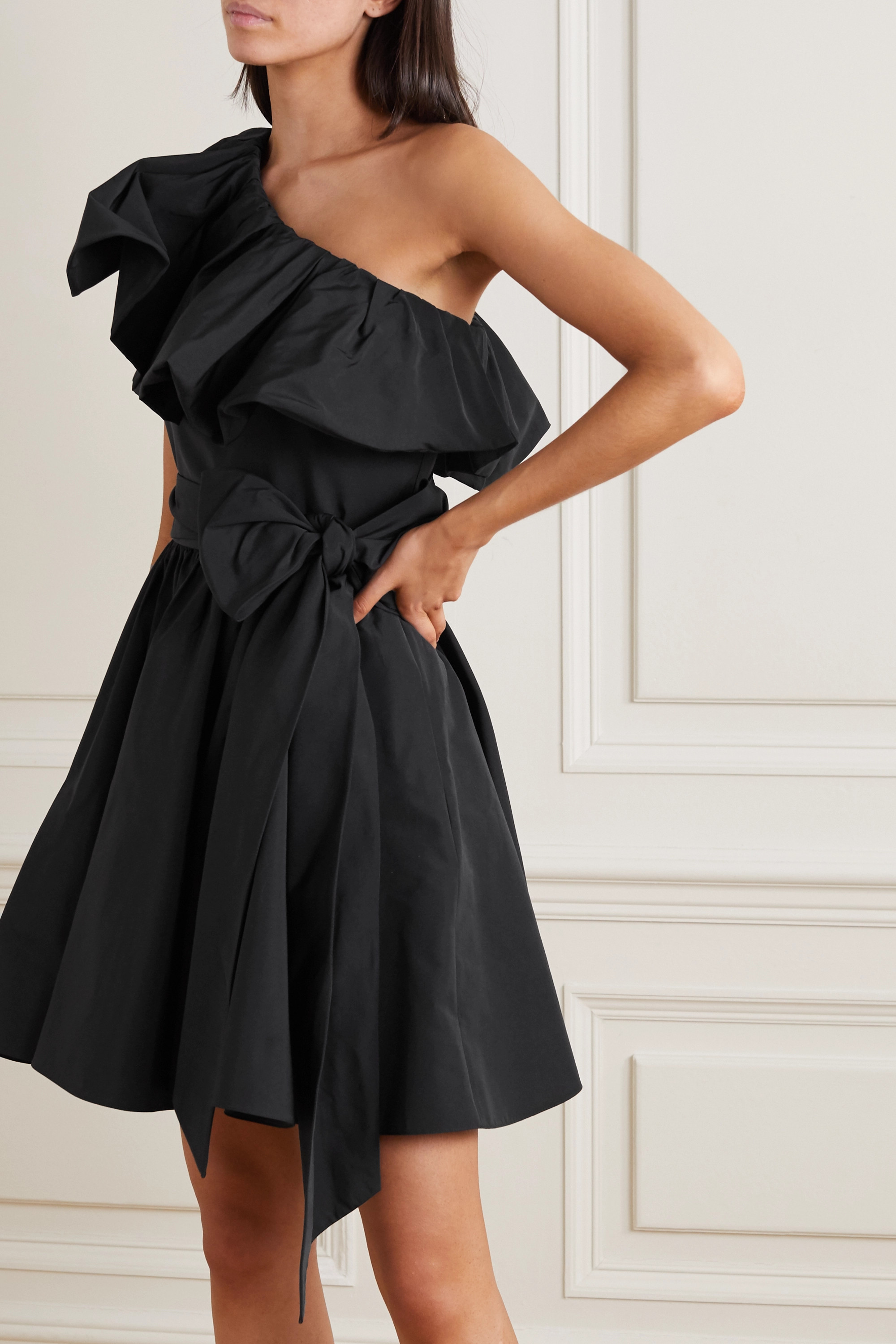 Valentino Belted one-shoulder ruffled twill mini dress