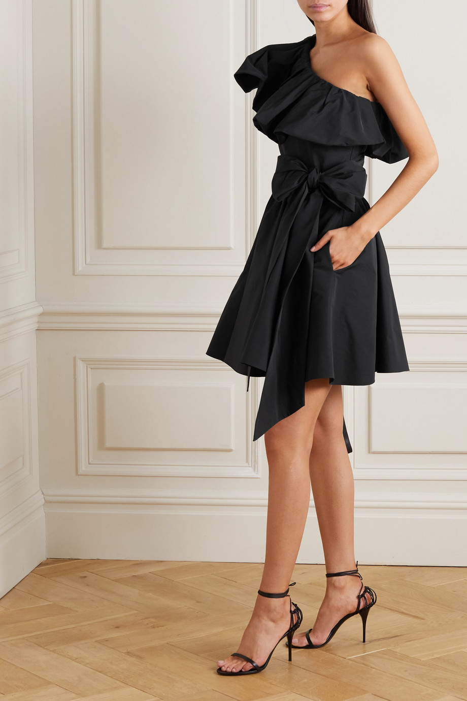 Valentino Belted one-shoulder ruffled twill mini dress