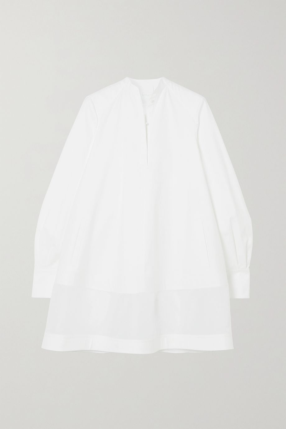 Valentino Oversized paneled cotton-poplin mini shirt dress