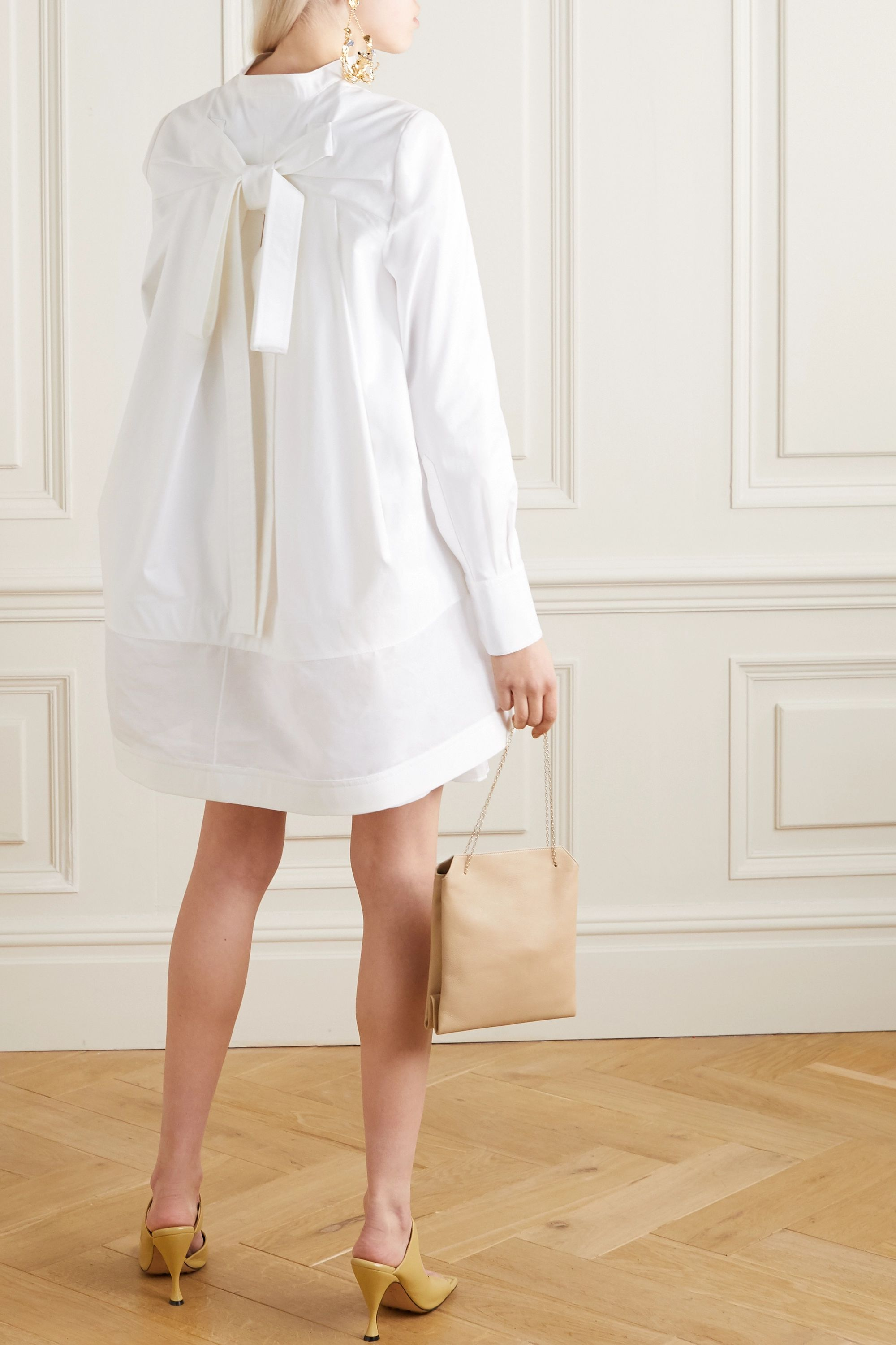 Valentino Oversized paneled cotton-poplin mini shirt dress