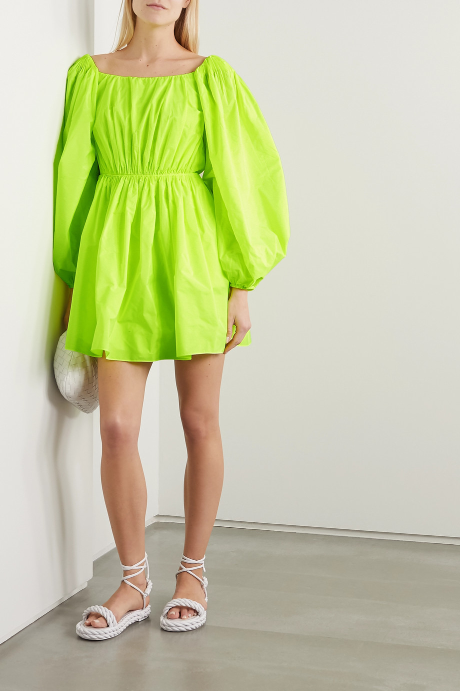 Valentino Neon gathered poplin mini dress