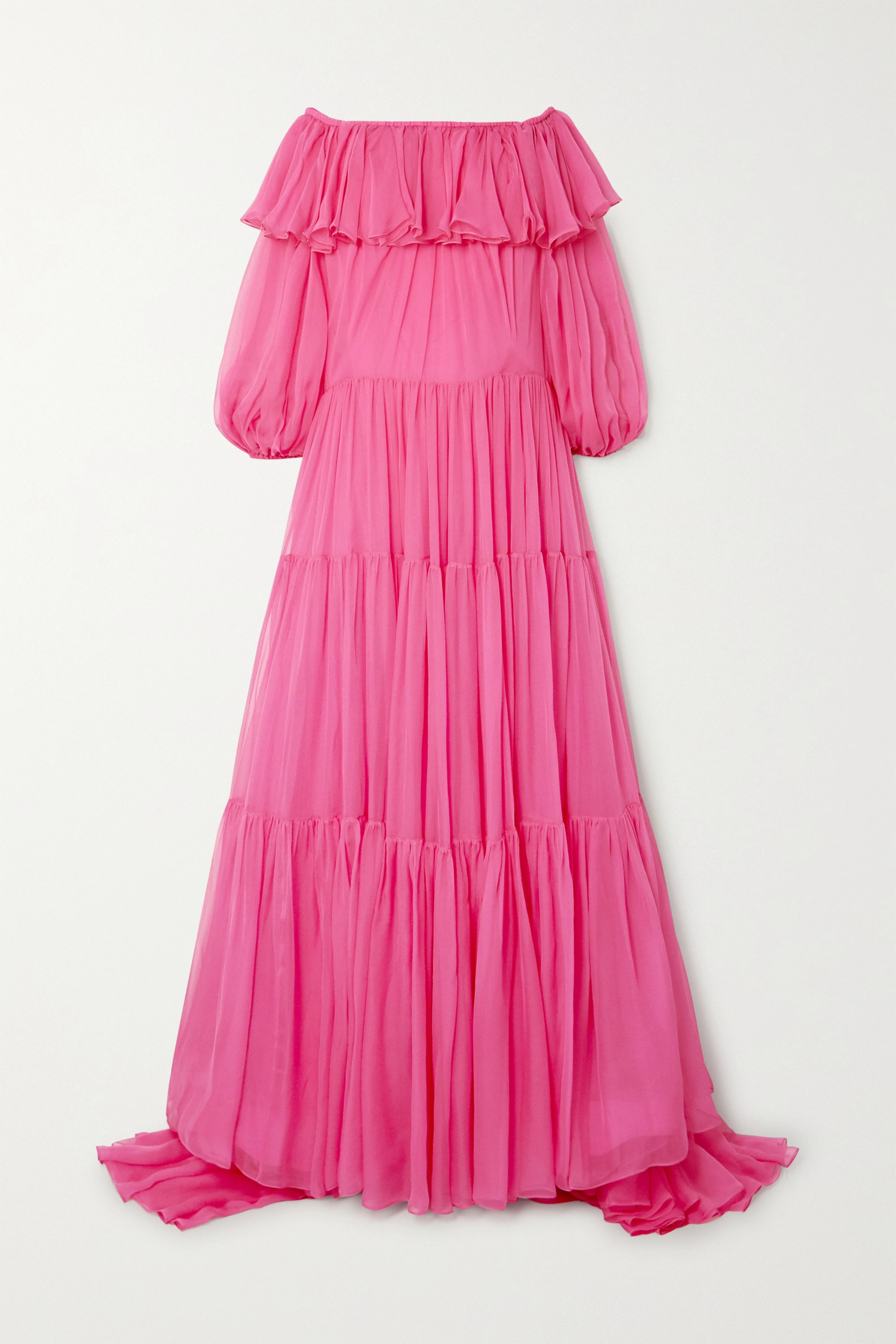 Valentino Off-the-shoulder tiered ruffled silk-chiffon gown