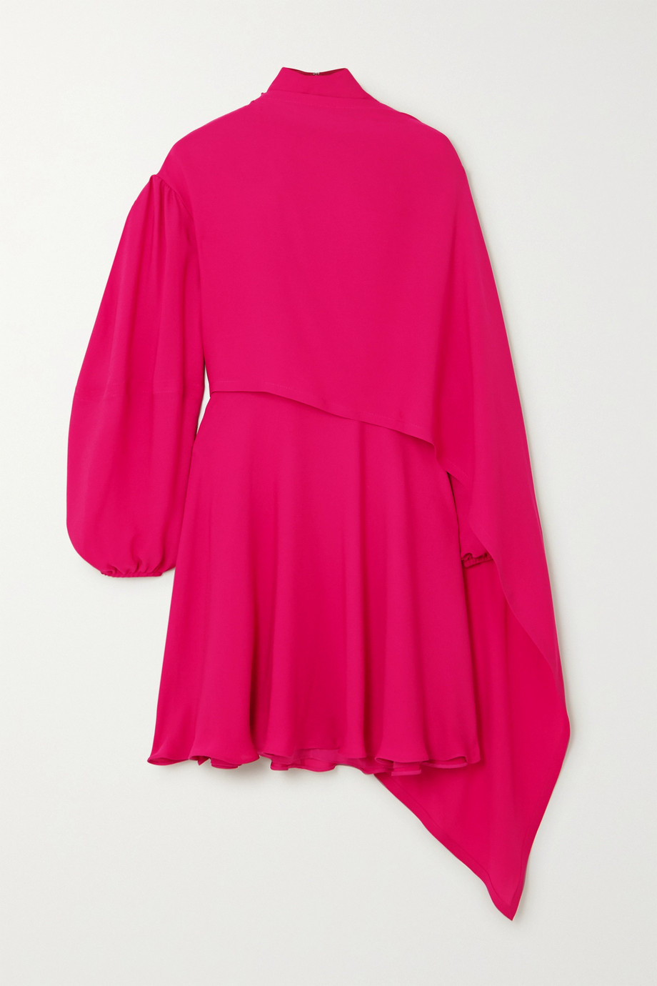 Valentino Cape-effect tie-neck silk-chiffon mini dress