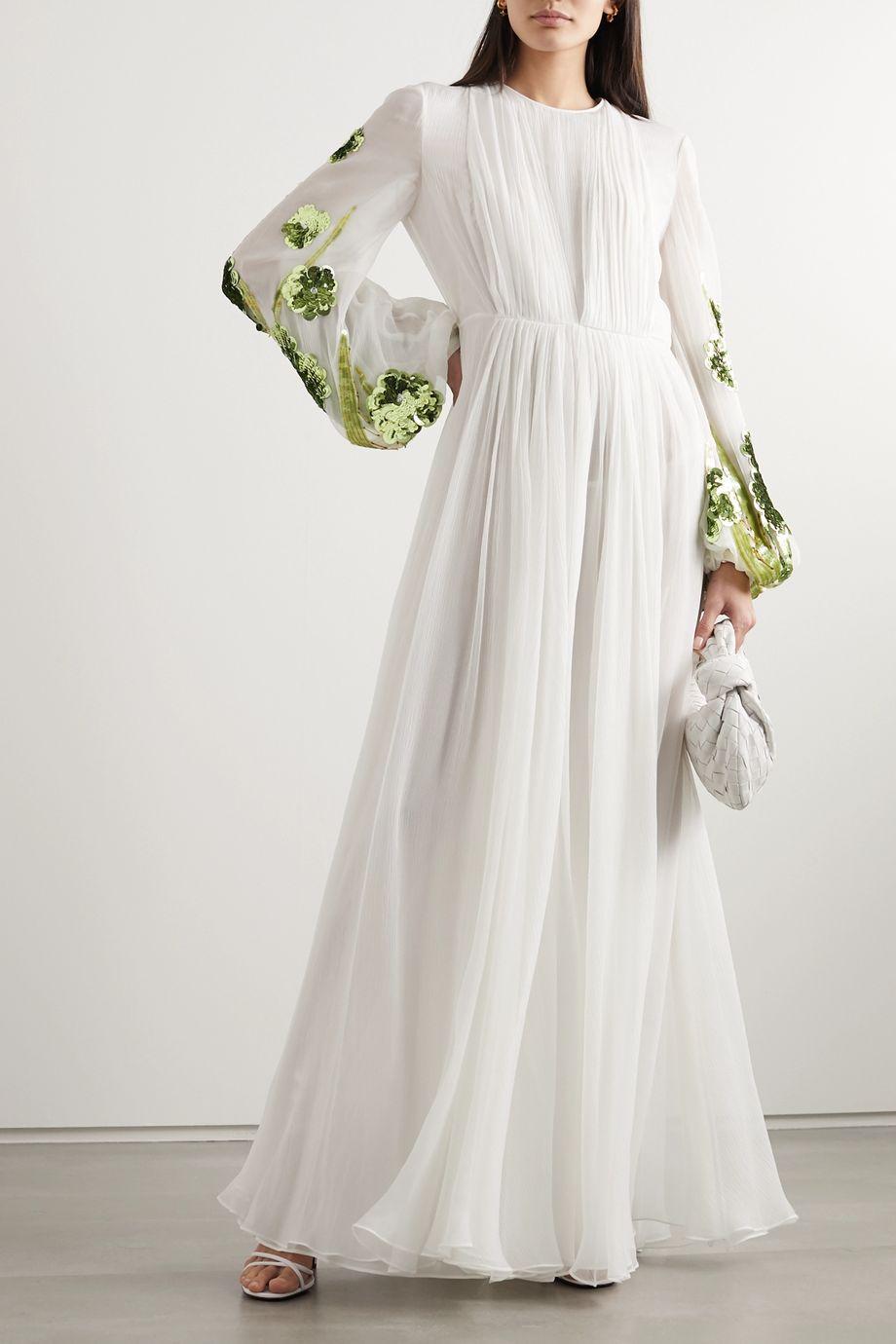 Valentino Sequined plissé silk-chiffon gown