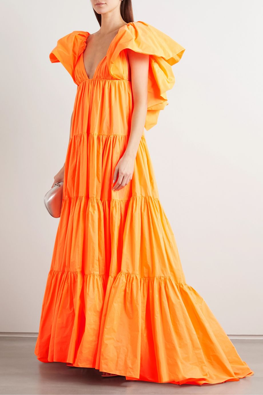 Valentino Tiered ruffled poplin gown