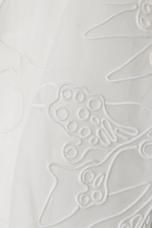 Valentino Robe aus besticktem Seidenorganza mit Federn