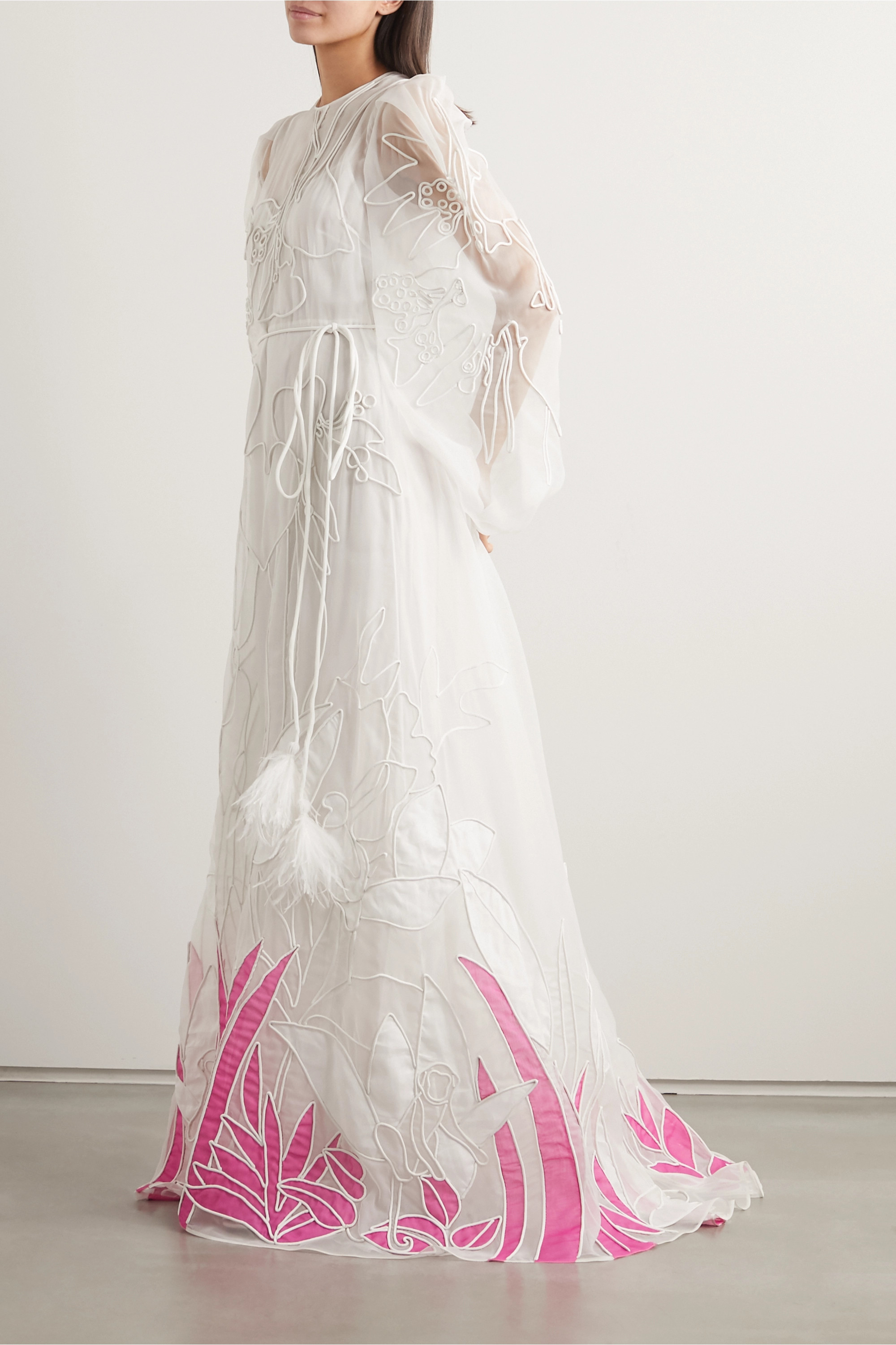 Valentino Feather-trimmed embroidered silk-organza gown