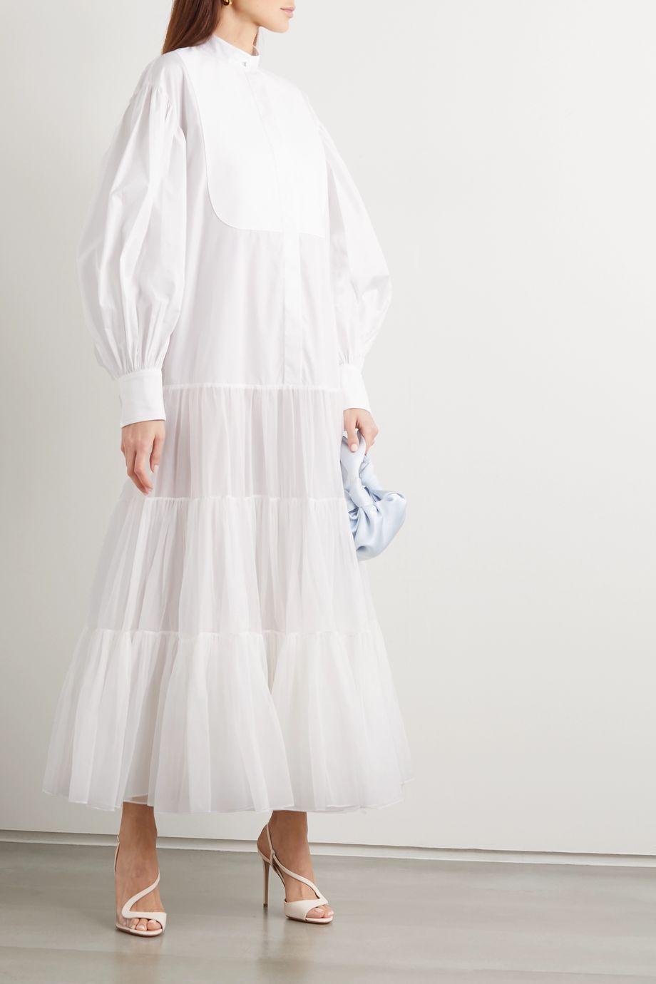 Valentino Cotton-poplin, piqué and silk-organza shirt dress