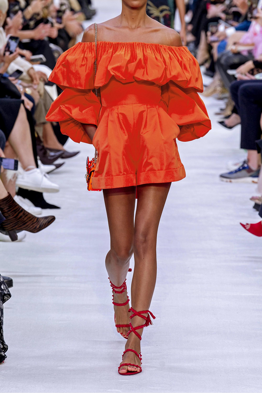 Valentino Combi-short épaules nues en popeline de coton mélangé à volants