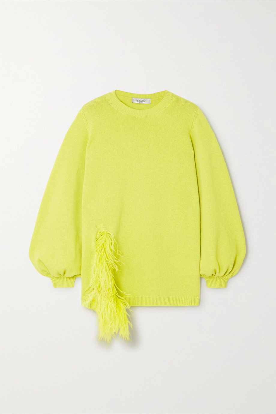 Valentino Feather-trimmed wool and cashmere-blend sweater