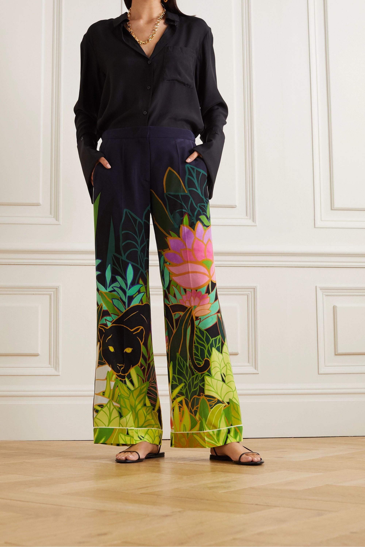 Valentino Printed silk crepe de chine wide-leg pants