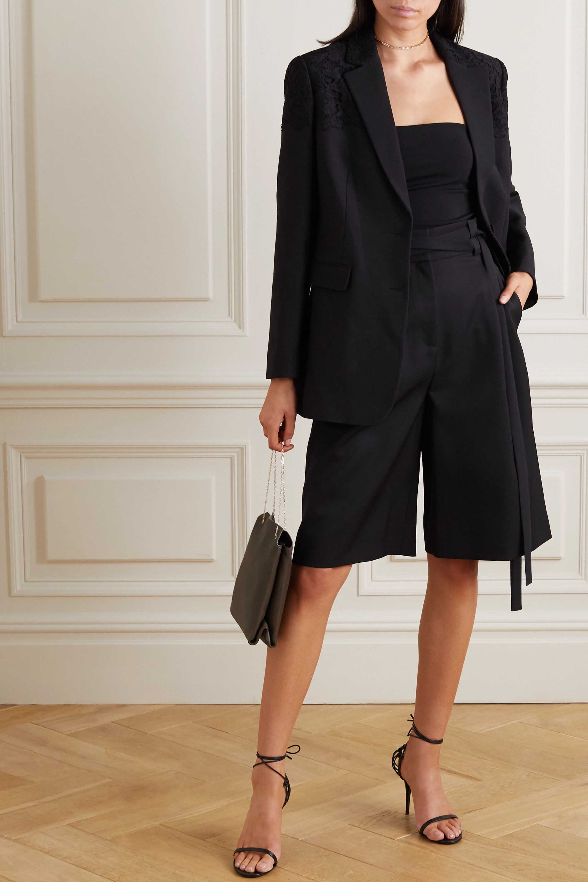 Valentino Belted wool-twill shorts