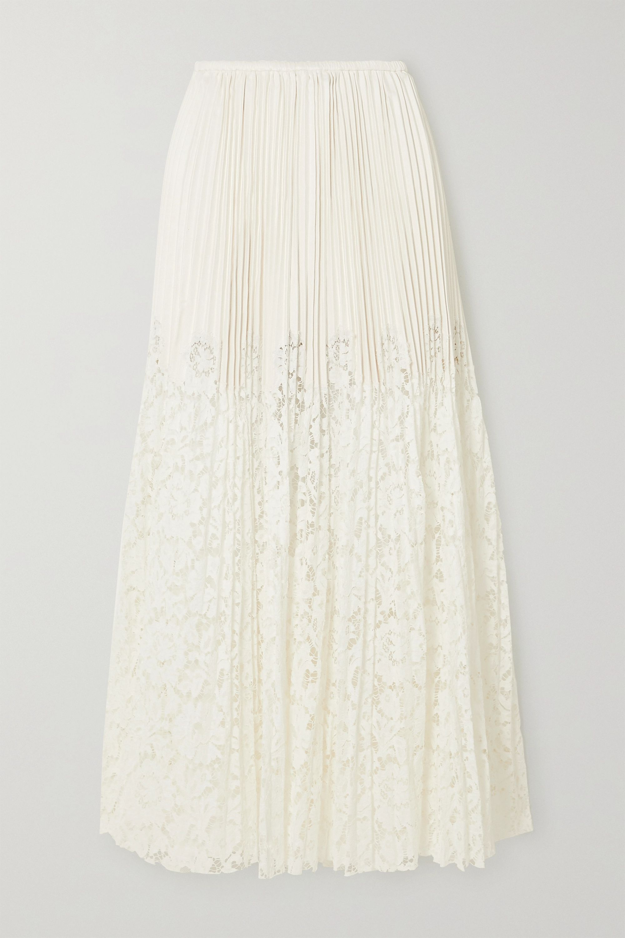 Valentino Plissé-leather and lace maxi skirt