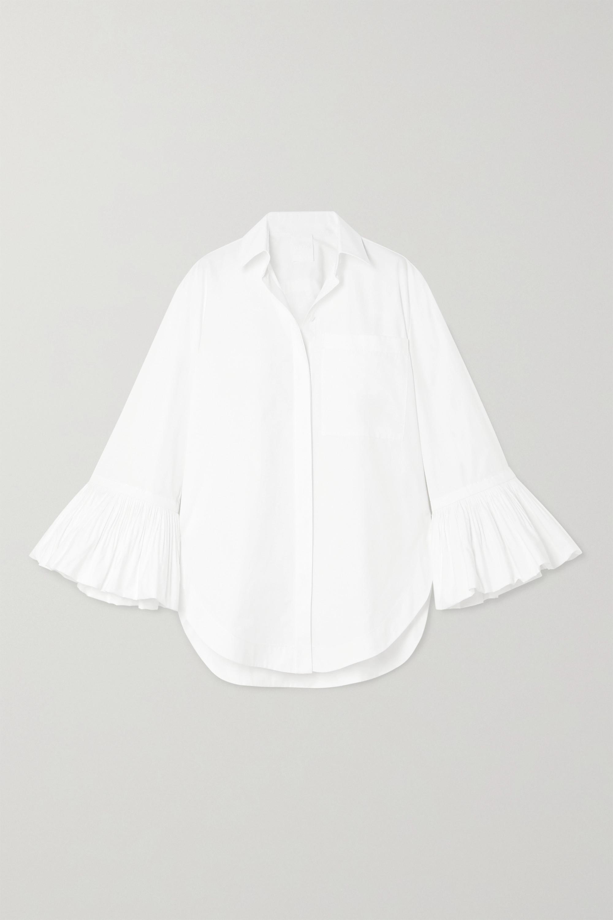 Valentino Ruffled cotton-poplin blouse
