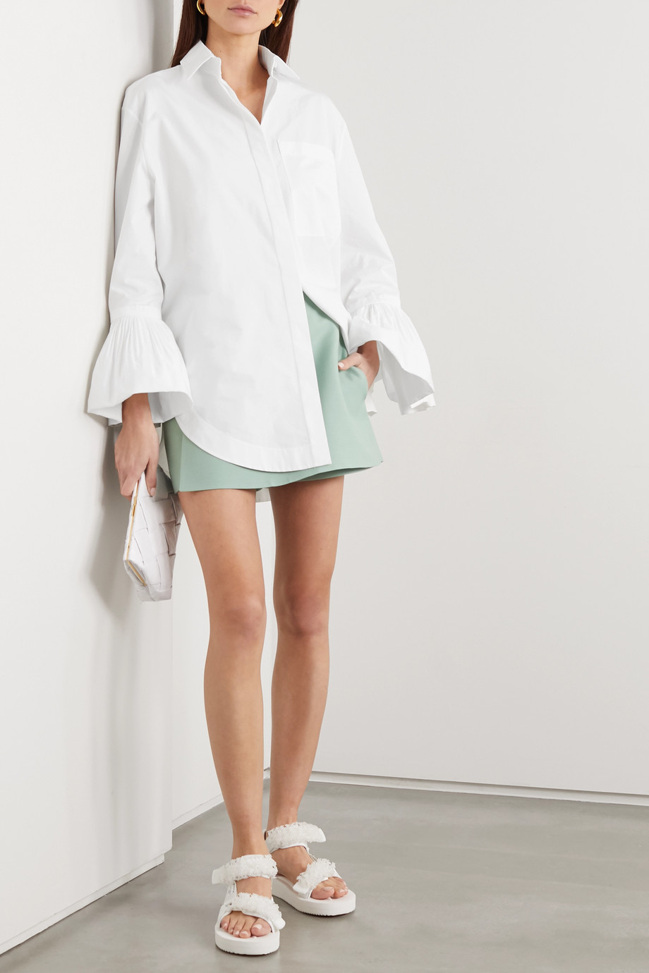 Valentino Ruffled cotton-poplin blouse