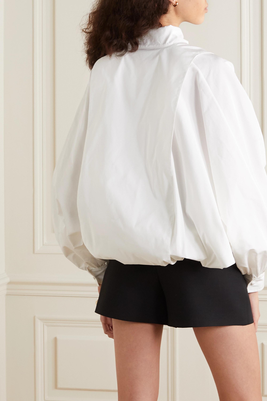 Valentino Tie-detailed gathered cotton-blend poplin blouse