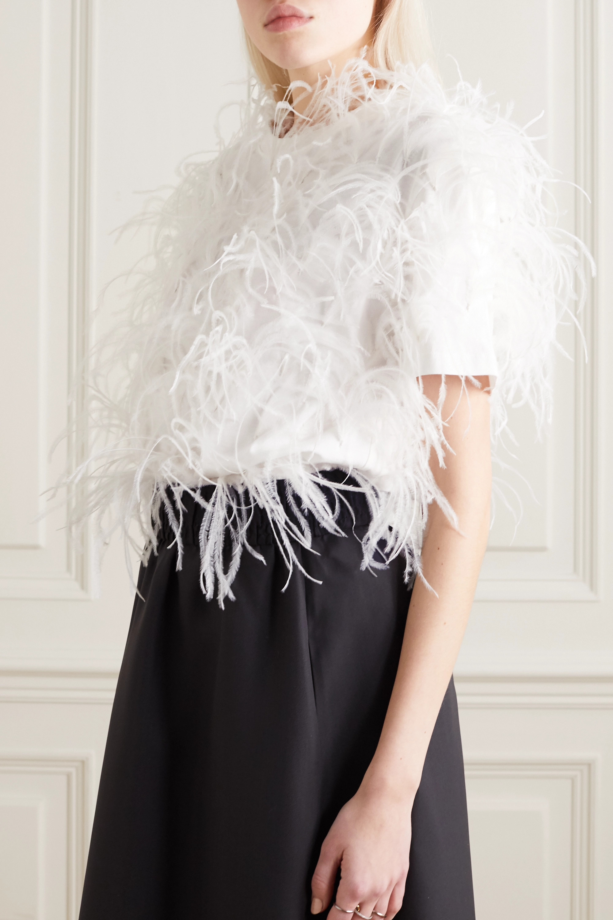Valentino Feather-embellished cotton-jersey T-shirt