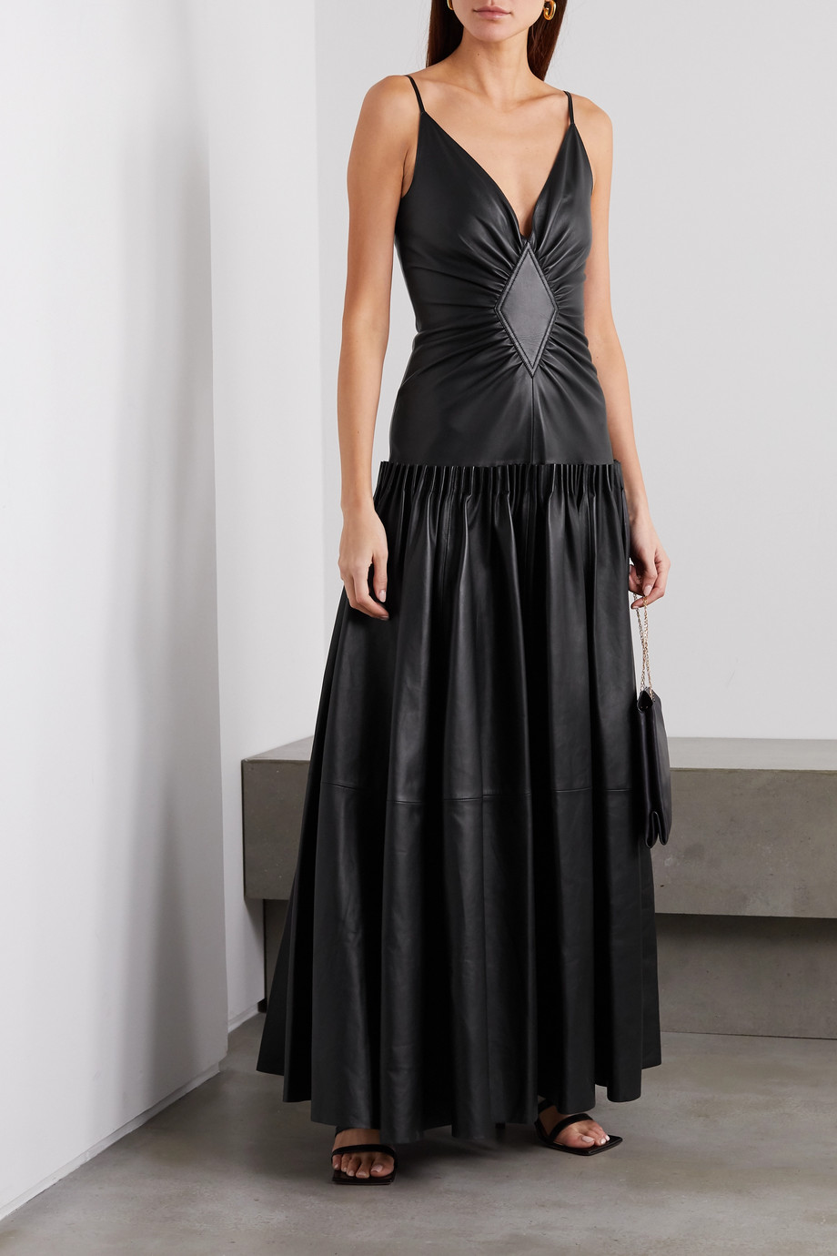 Loewe Tiered gathered leather maxi dress