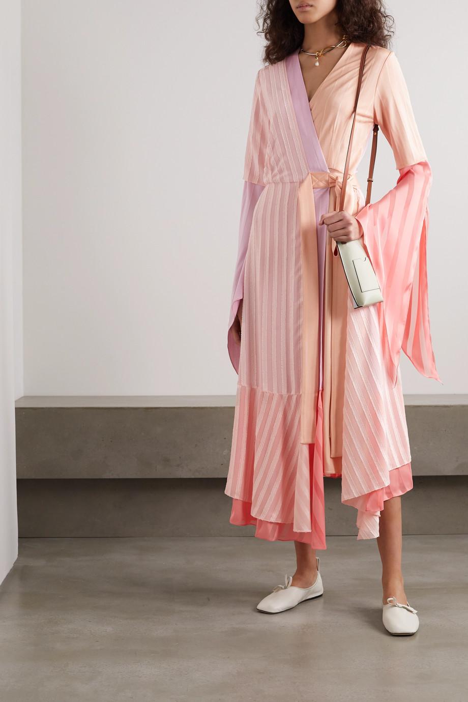 Loewe Asymmetric ribbed-knit, satin-jacquard and devoré silk-chiffon wrap dress