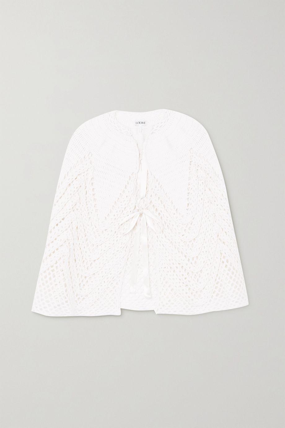 Loewe Satin-trimmed crochet-knit cape