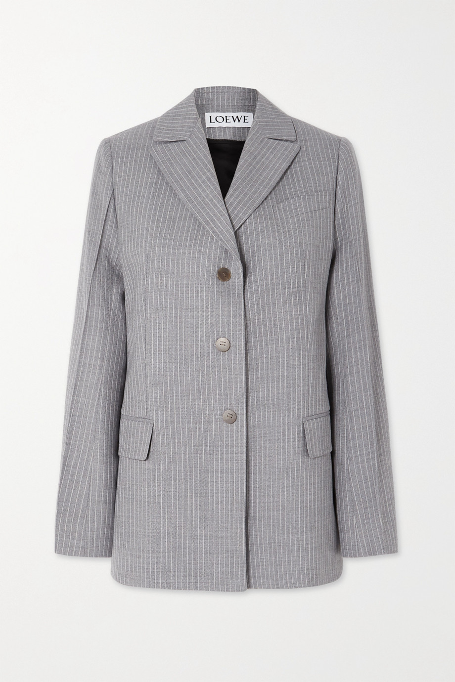 Loewe Tie-detailed pinstriped wool and silk-blend blazer