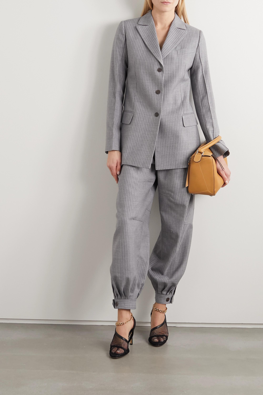 Loewe Tie-detailed pinstriped wool and silk-blend blazer