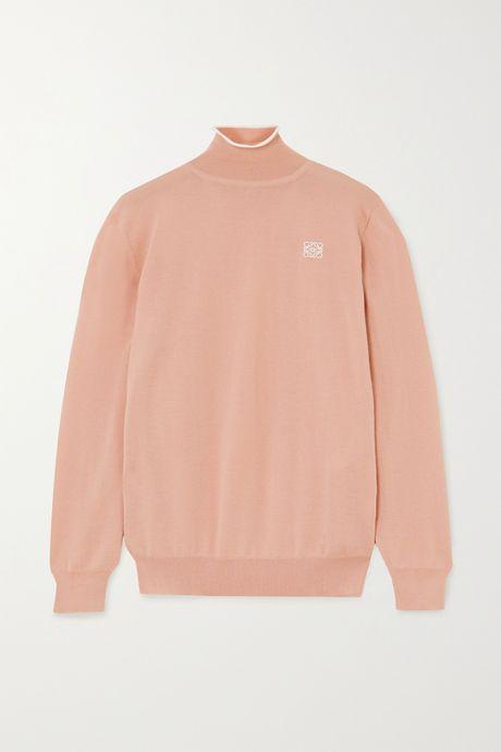 Beige Embroidered cashmere and cotton-blend turtleneck sweater | Loewe cvcJix