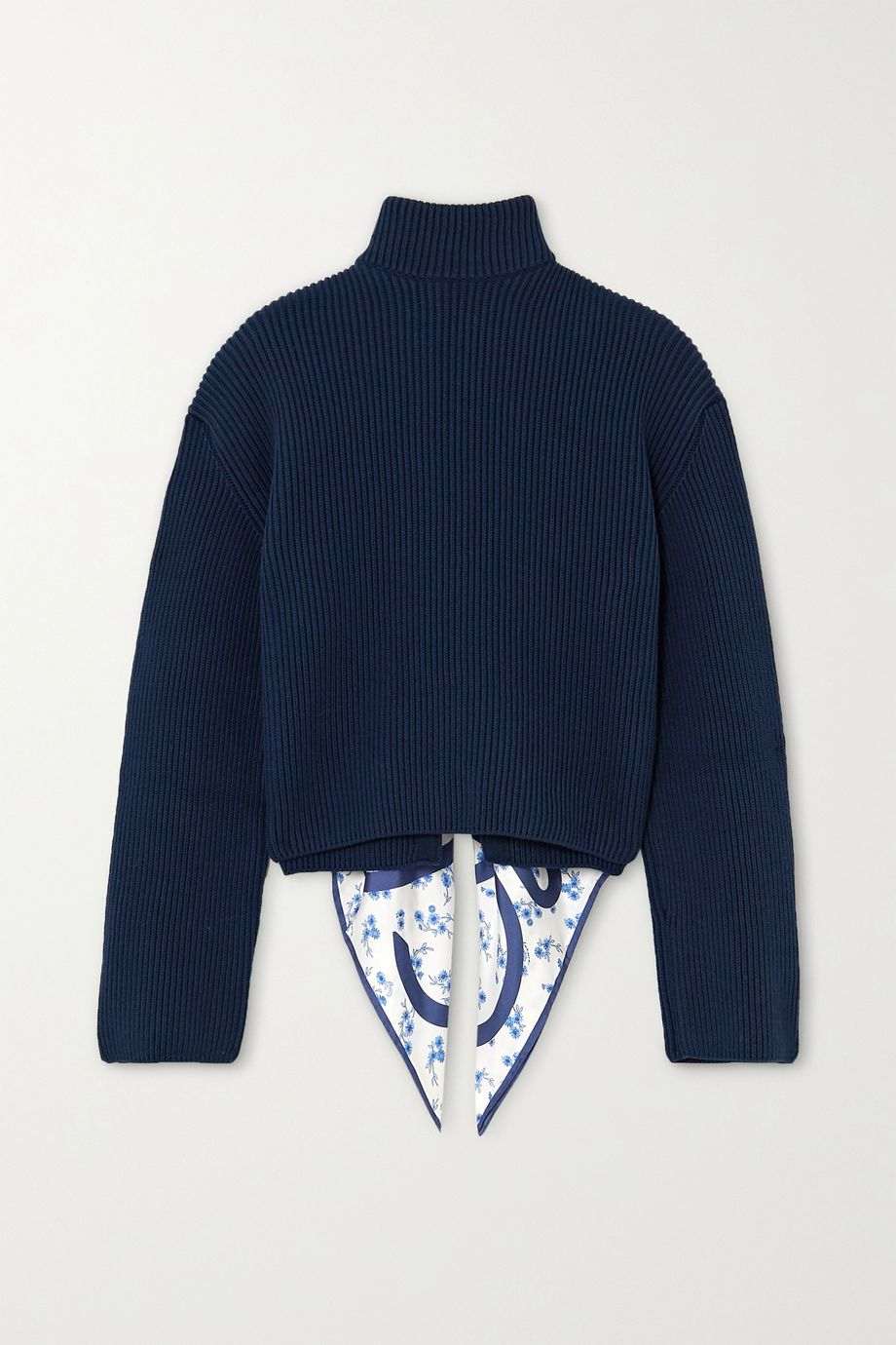 Loewe Open-back ribbed cotton and printed silk-twill sweater
