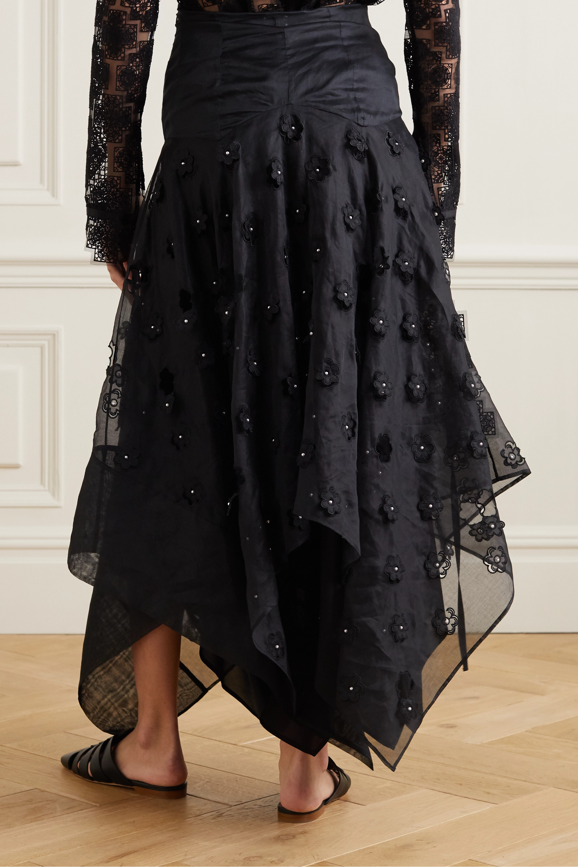 Loewe Faux pearl-embellished broderie anglaise cotton-blend organza skirt