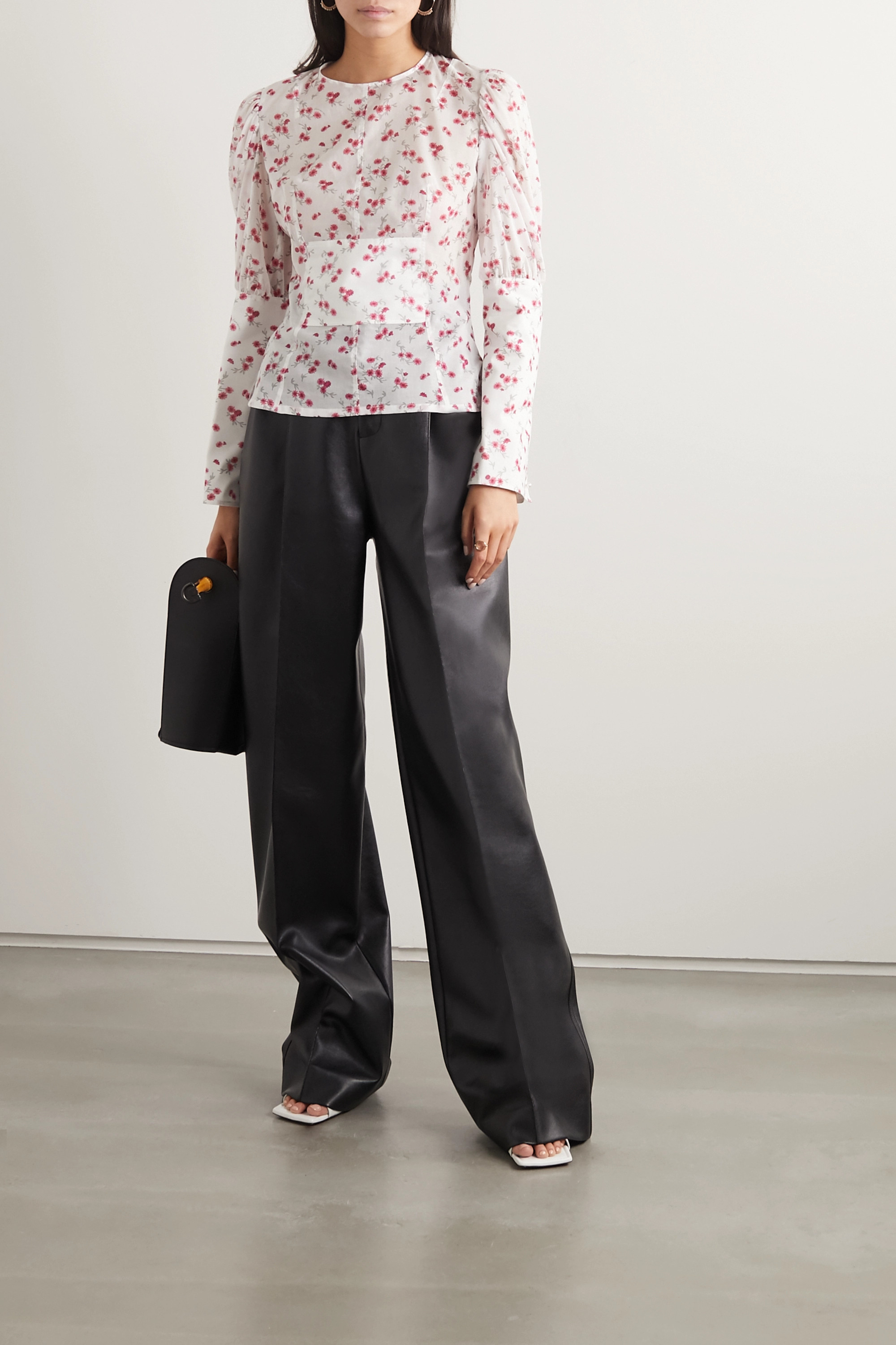 Loewe Paneled floral-print cotton-voile and poplin blouse