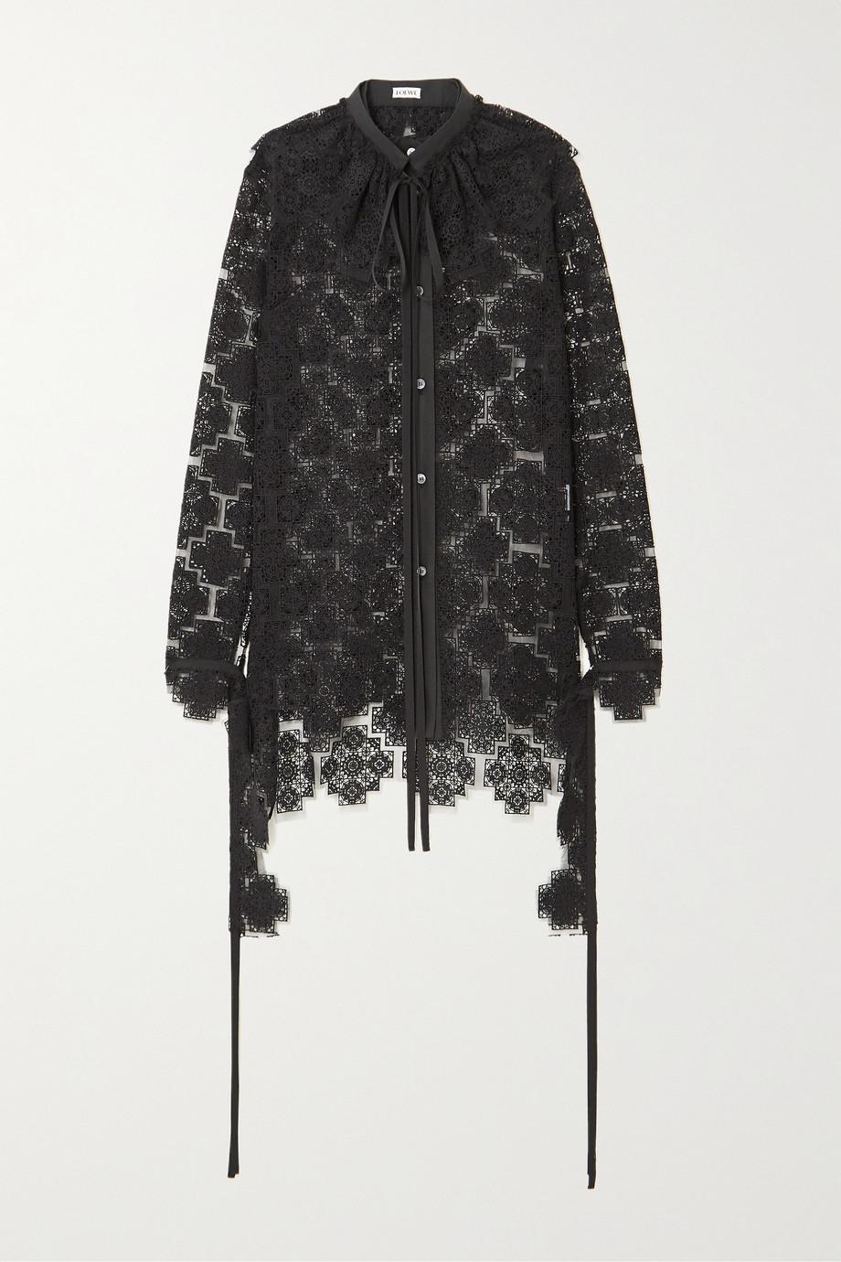 Loewe Bluse aus Spitze aus einer Baumwollmischung mit Rüschen