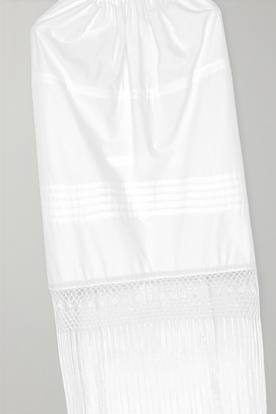 Loewe Open-back fringed cotton-poplin and macramé top