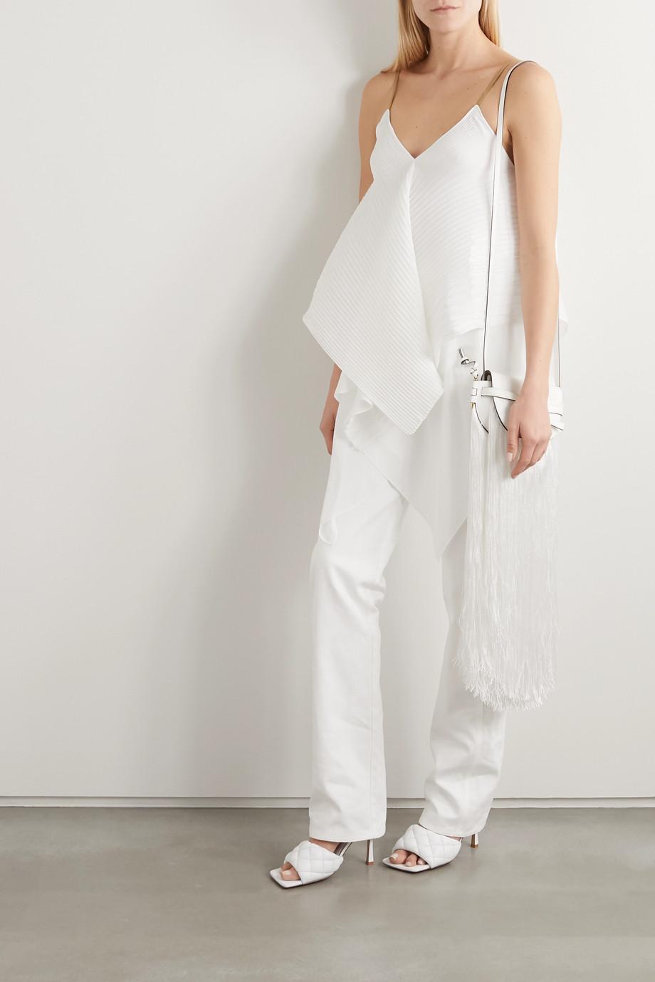 Loewe Leather-trimmed plissé-crepe camisole