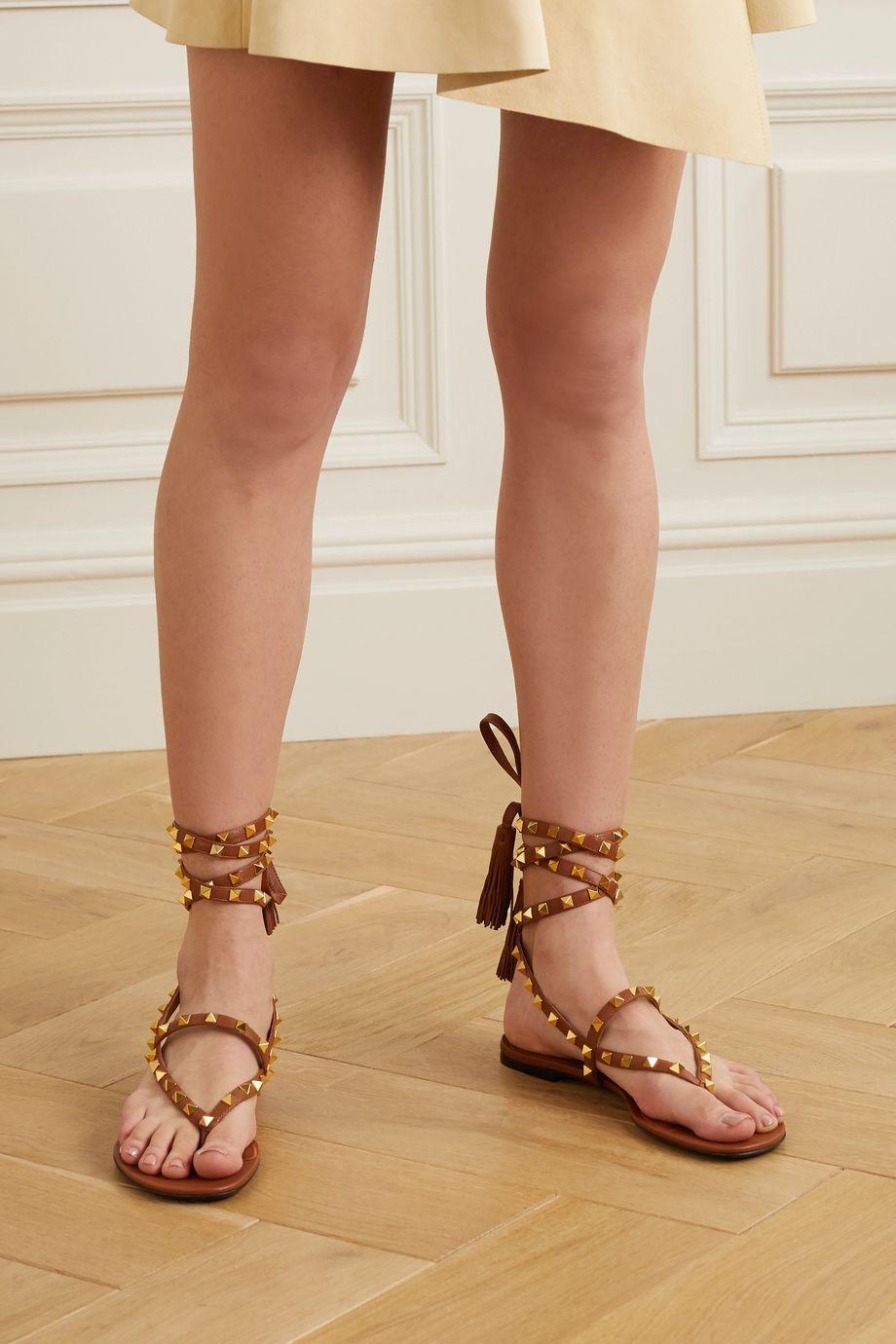Valentino Valentino Garavani Rockstud tasseled leather sandals