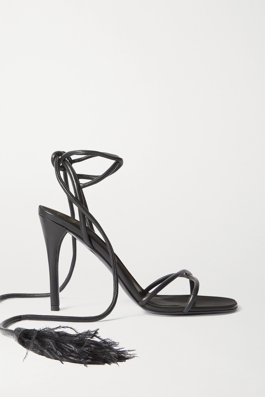Valentino Valentino Garavani Upflair 100 feather-trimmed leather sandals