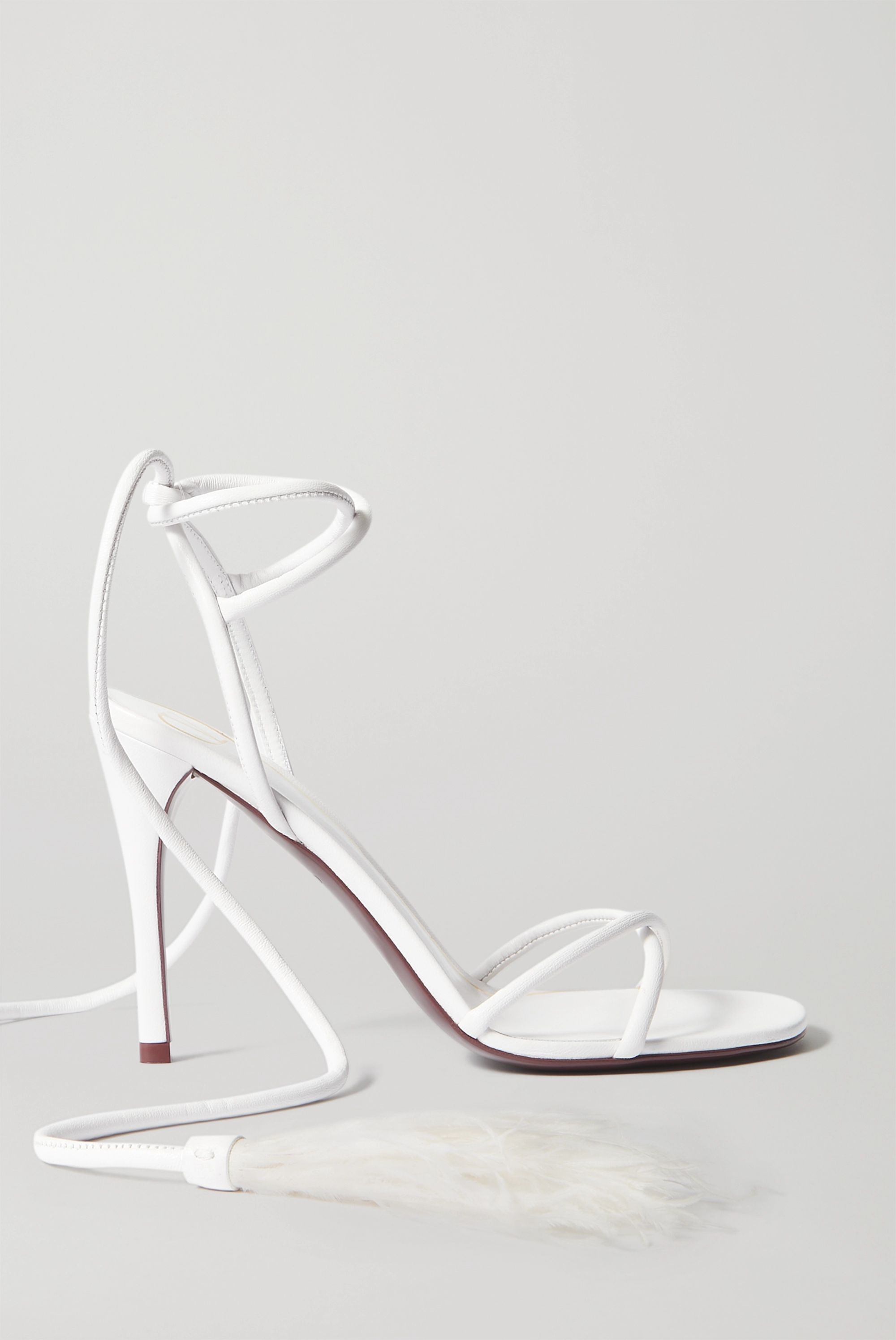 Valentino Valentino Garavani Upflair 100 feather-trimmed leather sandals