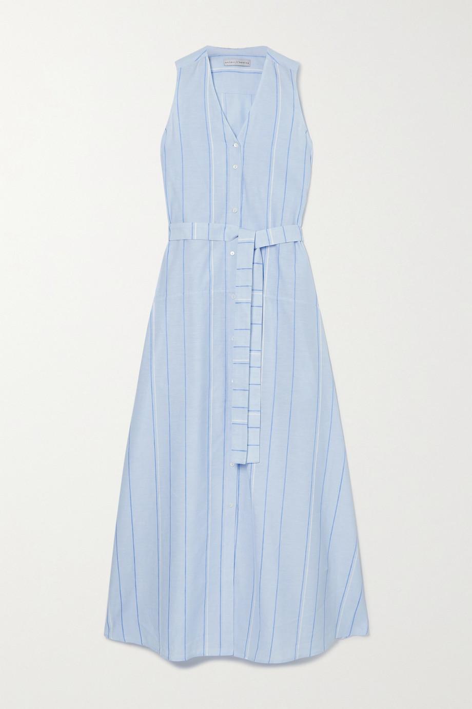 palmer//harding Sedona 条纹配腰带棉麻混纺超长连衣裙