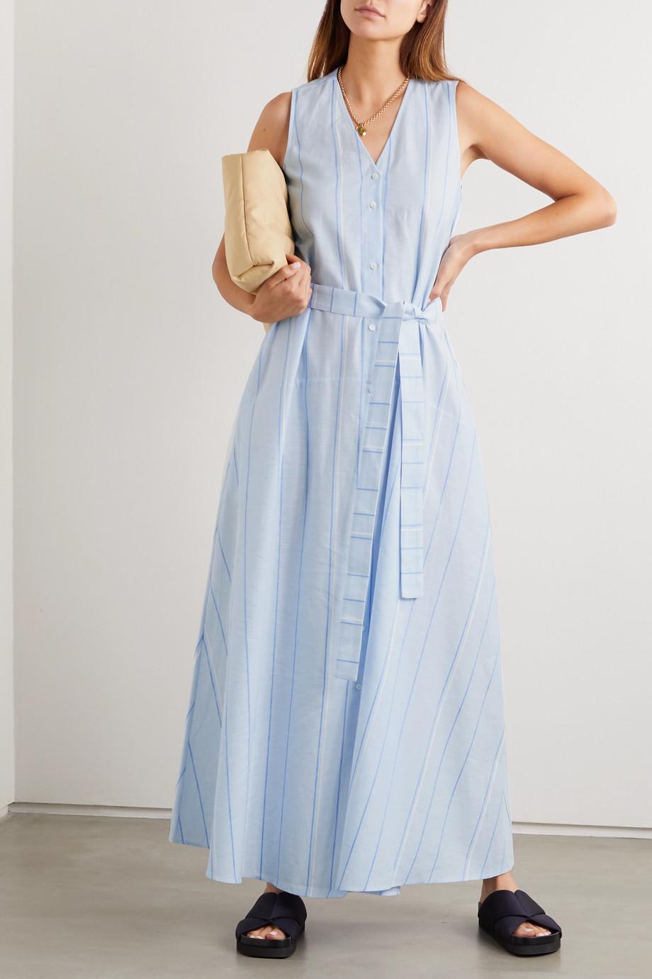 palmer//harding Sedona Maxi-Hemdblusenkleid aus einer gestreiften Baumwoll-Leinenmischung mit Bindegürtel