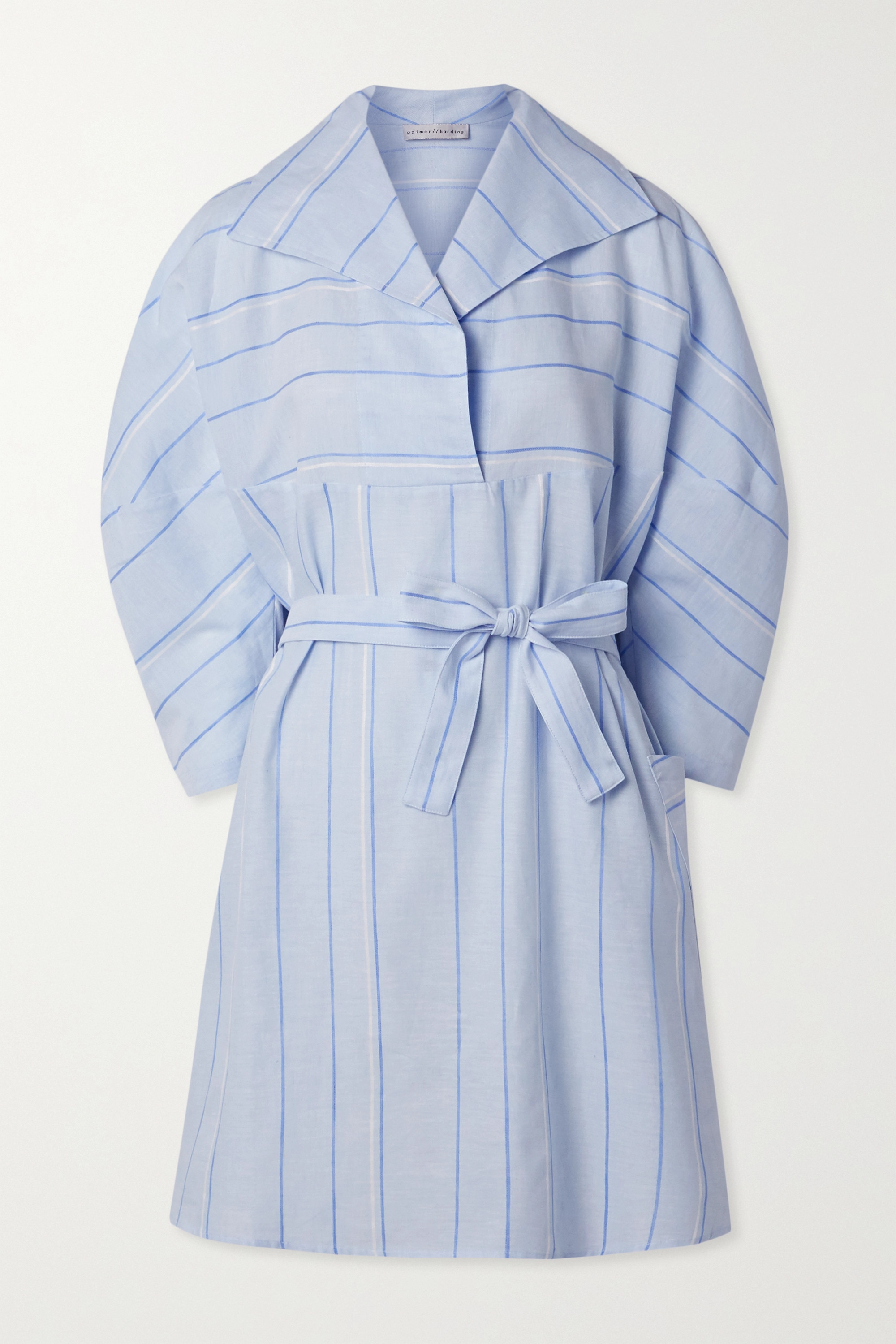 palmer//harding Belted striped cotton and linen-blend mini dress