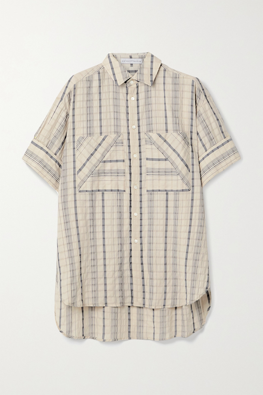 palmer//harding Boyfriend oversized striped linen-blend seersucker shirt