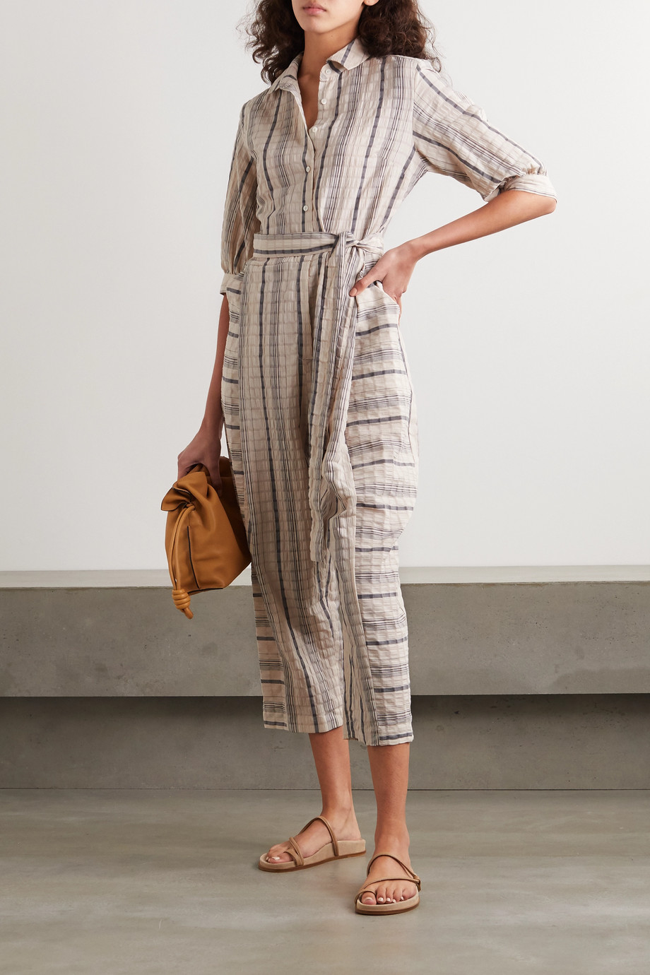 palmer//harding Dana 配腰带条纹亚麻混纺泡泡纱连身裤
