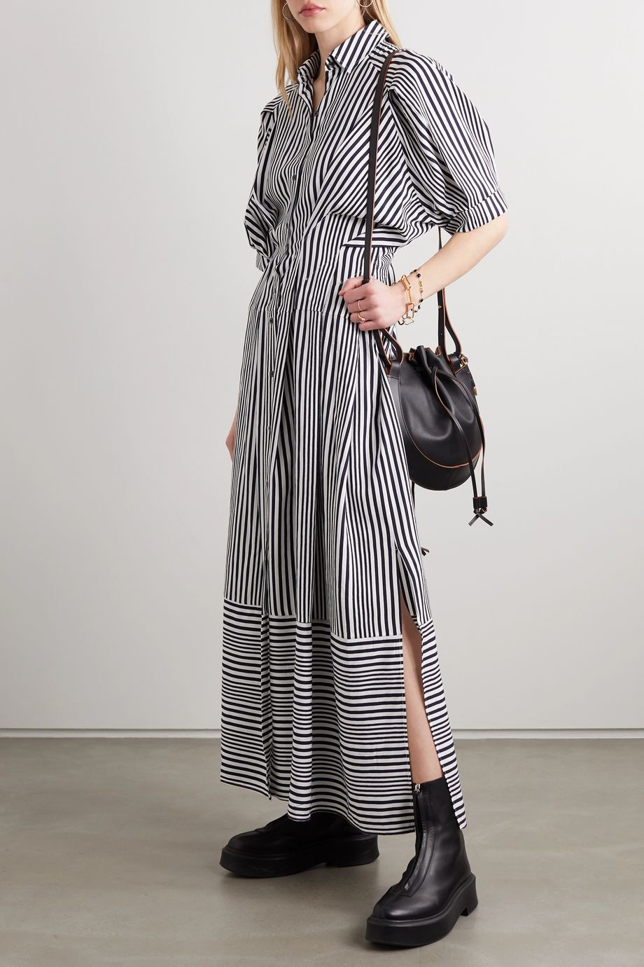 palmer//harding Sunda striped poplin maxi shirt dress