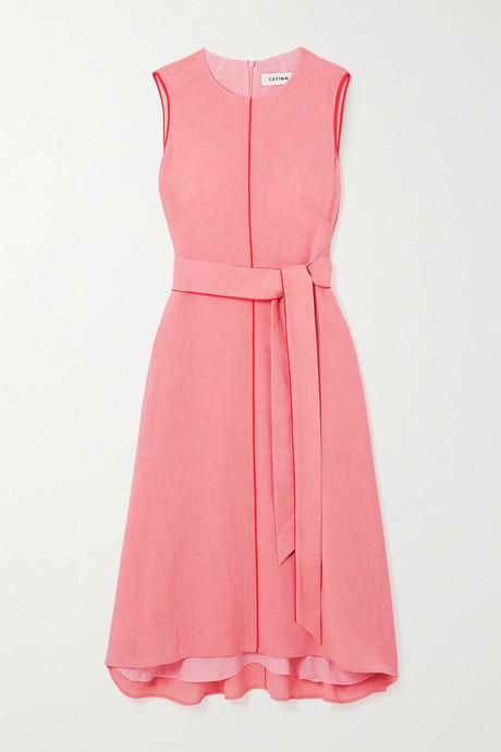 Pink Belted voile midi dress | Cefinn Bk7Cok