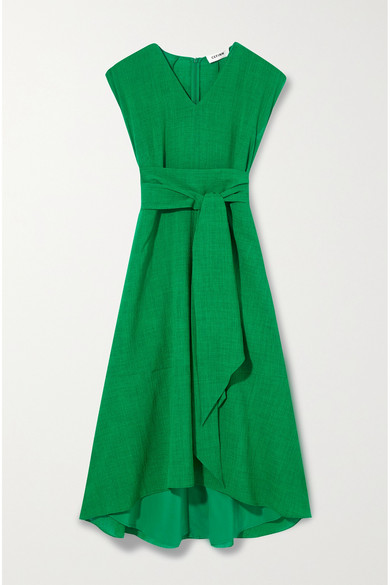 Cefinn - Freya Belted Voile Midi Dress - Green