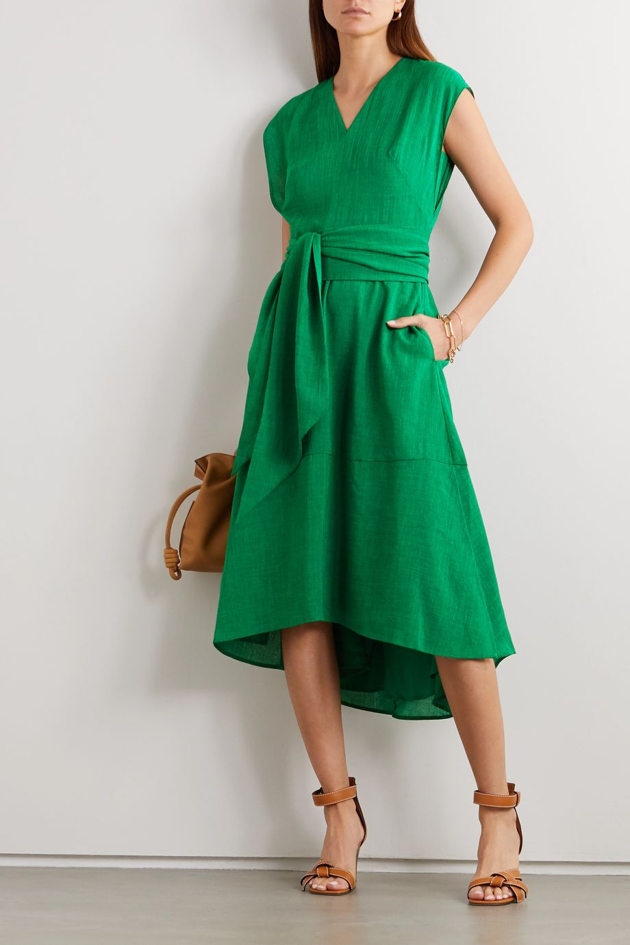 Cefinn Freya belted voile midi dress