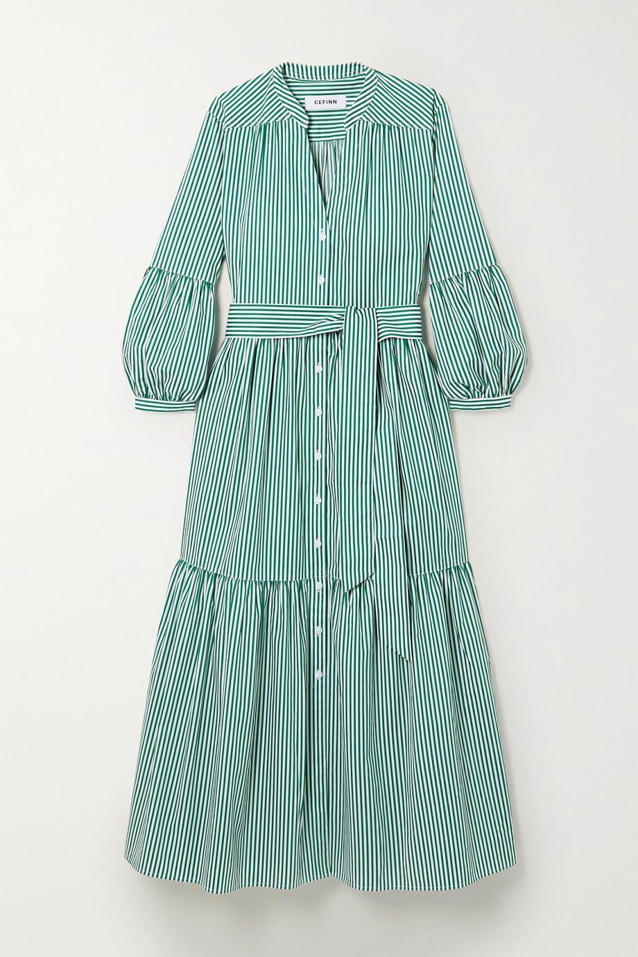 Cefinn Alice 配腰带条纹纯棉府绸中长连衣裙