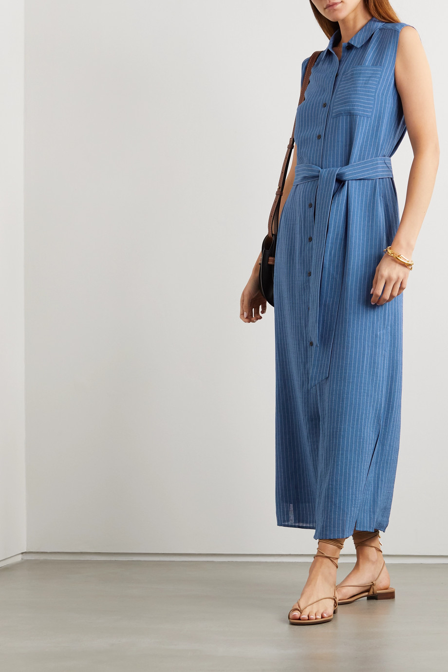 Cefinn Ursula belted pinstriped voile midi shirt dress