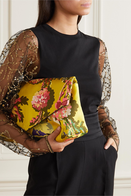 Dries Van Noten Envelope large floral satin-jacquard clutch